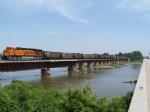 BNSF 6000 Crosses the Platte River