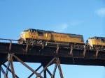 UP 4241 Glistens in the Sunlight High Atop the Kate Shelley Bridge