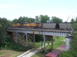 UP 7232 & UP 7096 Push a Coal Train West Over the Missouri River