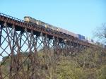 A Quad Grouping of SD70M's Lead an Intermodal Train Across the Kate Shelley High Bridge