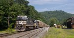 NS 9480 leads eastbound 28N past the trolley museum in Shelburne Falls, MA