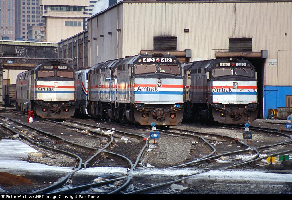 AMTK 292, 412, 350, EMD F40PH, at the Lumber Street locomotive shop