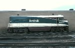 AMTK 90230, ex AMTK 230 EMD F40PH, now rebuilt NPCU, CABBAGE, fresh paint at Amtrak Lumber Street shop