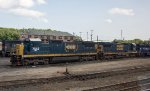 Two former CSX C40-8's wait for their next assignment