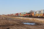 Tucked in the middle of S-LPCSCO1, BNSF 7690 & 7485 head away west a couple miles outside of Toluca