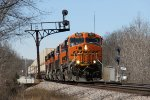 BNSF 7824 blasts through the signals at Yost leading the Z-LACWSP9 east