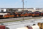 BNSF & KCS GE's congregate outside the Galesburg shop