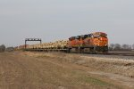 BNSF 7905 & 7464 roll west with equipment bound for training exercises