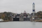 As the CSL Laurentian rises in the top flight of the locks, A422 rolls past