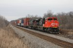 CN 8935 & 2558 sit in the siding at South Marsh with Q196 waiting out a work window