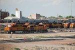 BNSF6285, BNSF5651, BNSF1803, BNSF9075, BNSF6293, BNSF9870, BNSF7048, BNSF5684 outside the depot