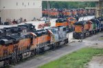 BNSF3978, BNSF1775, TCM1654, BNSF7509, BNSF3413, GMTX2300 and others outside the depot