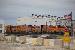 BNSF2540, BNSF3185, BNSF6406, BNSF5911, BNSF1570, BNSF1421 and BNSF3136 outside the depot