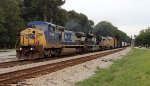 CREX ES44AC 1508 and NS SD70M 2707 give assist to CSX C40-8W 7859