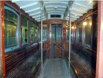 Inside preserved trolley