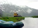 Rafters waiting to catch Alaska Discovery Glacier Train