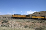 UP 9470 drops rail along the Rio Grande