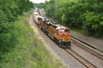 BNSF 6896 Heads up a slow dragging freight.