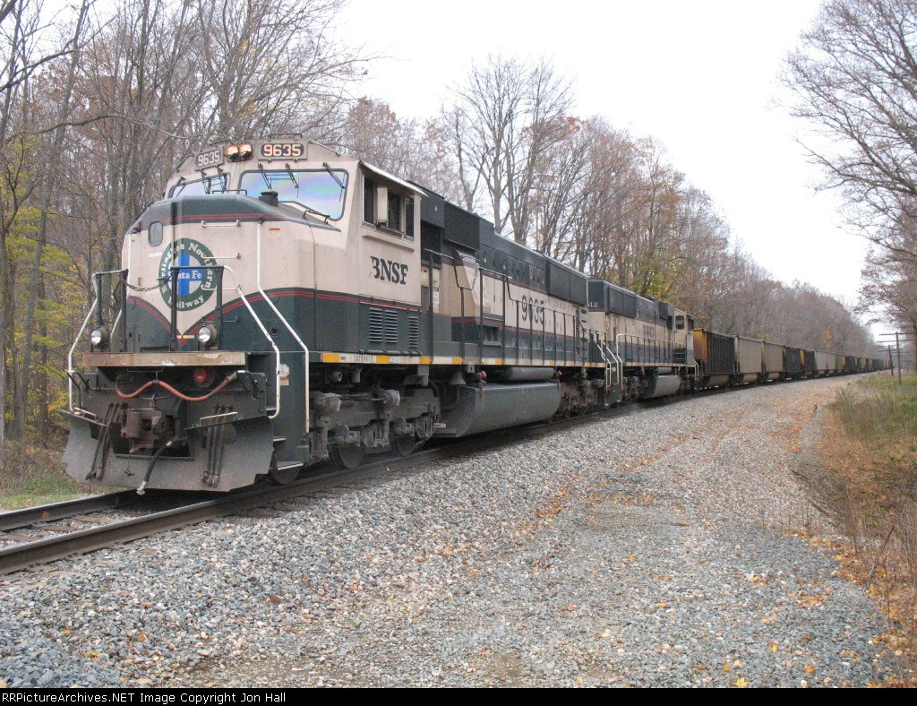 BNSF 9635 making less than 10 mph on the rear of the train as D802 pushes