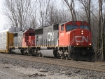CN 5611 & IC 6120 slowly roll east with A480 as they wait on a maintainer