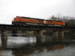 BNSF 5864 & 5987 crossing the Kalamazoo River leading D801