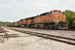 BNSF 5663 Leads a loaded coal on a cloudy humid day.