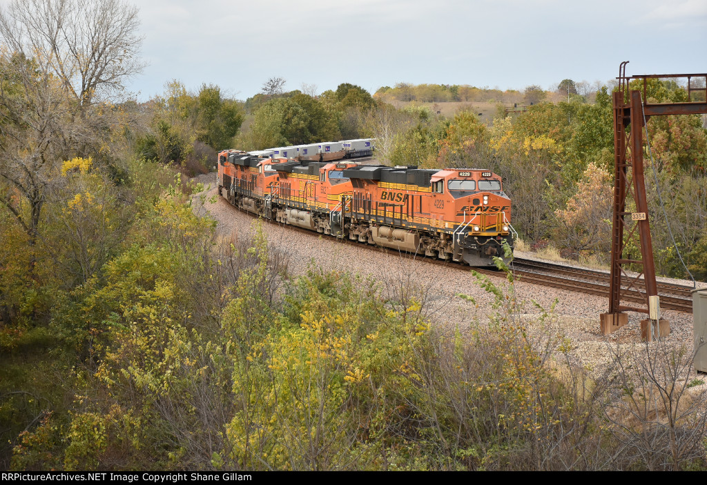 BNSF 4229 Drifts down grade at Hart Mo.