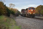 BNSF 7504 Races east along the fall color.