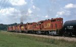 Heavy train leaving McNeil, Ar with 5 GPs