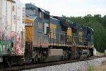 CSX C40-8W's 7777 and 7808 rush mixed freight northbound