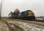 CSX C40-8W 7772 and AC44CW 145 shift double-stackers in a rare Metro-Atlanta snow/sleet mix
