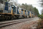 CSX SD50-2 8501 runs fourth in a six-unit lash up