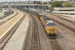 UP 6373 leads a empty rail train through Kc.