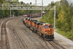 BNSF 7505 Drags a freight out of Argentine yard.