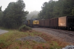 two N trains meet at slighs in a misty rain fall