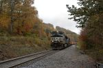 Ballast train heads for the loops through the fall foliage