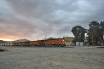 BNSF climbing through Caliente at sunset