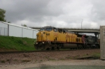 UP 7305 leads the first moving train I seen all day