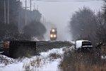 NS 9858 works through the light snow.