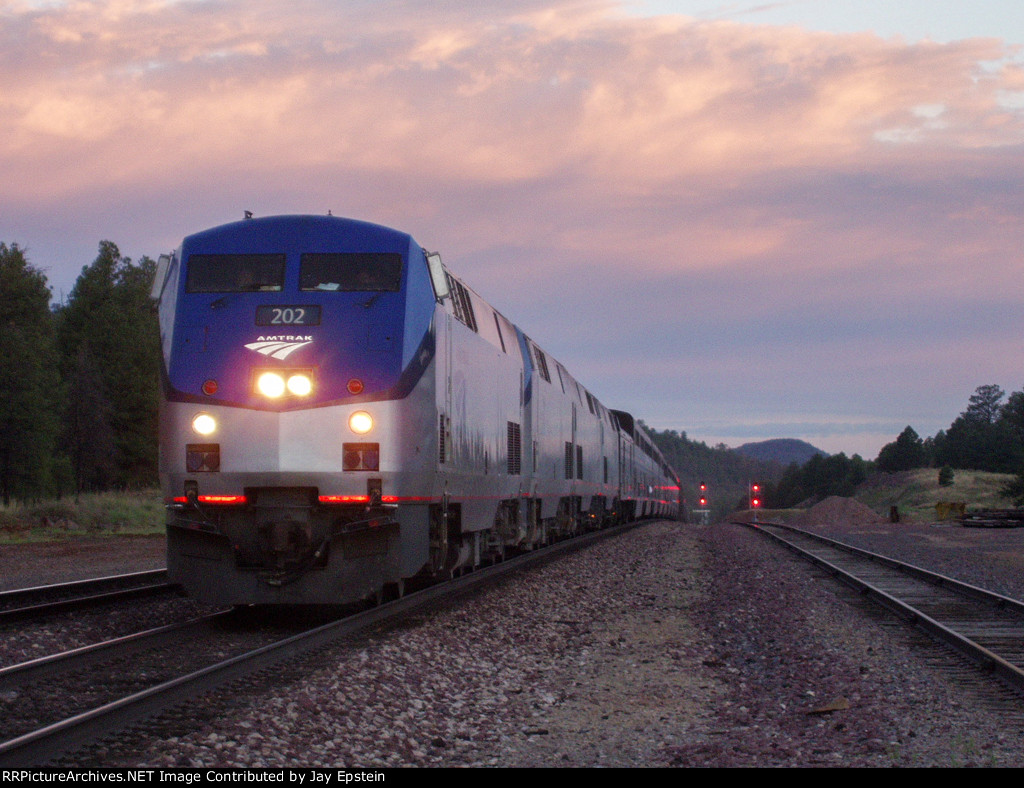 The Southwest Chief pulls in in the predawn hours