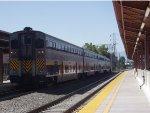 An Amtrak Capitol Corridor train waits for its next run