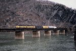 A westbound freight of general merchandise crosses the Potomac River