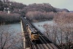 CSX 8642 leads a loaded coal train east over the Potomac River