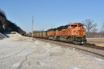 BNSF 9161 Drags a coal down the K line.