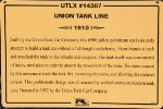 UTLX 14387 - Union Tank Line Tank Car Sign