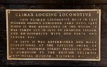 Shawnigan Lake Lumber Co Climax #2 Plaque