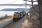 Northbound autorack rolls under Bear Mountain Bridge