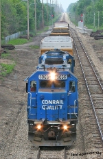 NS 3066 & 3065 head back north after working Niles and Dowagiac, MI