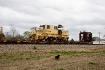 "Plasser American Dynamic Track Stabilizer on BNSF 927072 ""Scorpion Tail"" MOW flat."