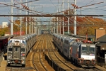 2 NJT bilevel trains, 1 coming and 1 going.